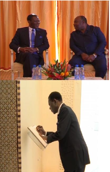 Obiang Nguema Mbasogo  ,    Président de la CEMAC, en visite de quelques heures de travail au  Gabon !!!