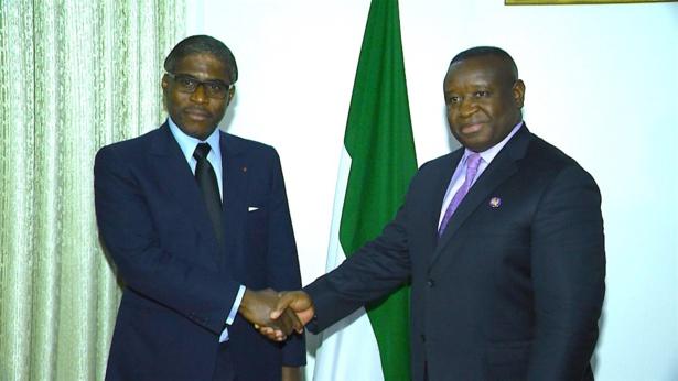 Teodoro Nguema Obiang Mangue,aux côtés du président de la Sierra Leone