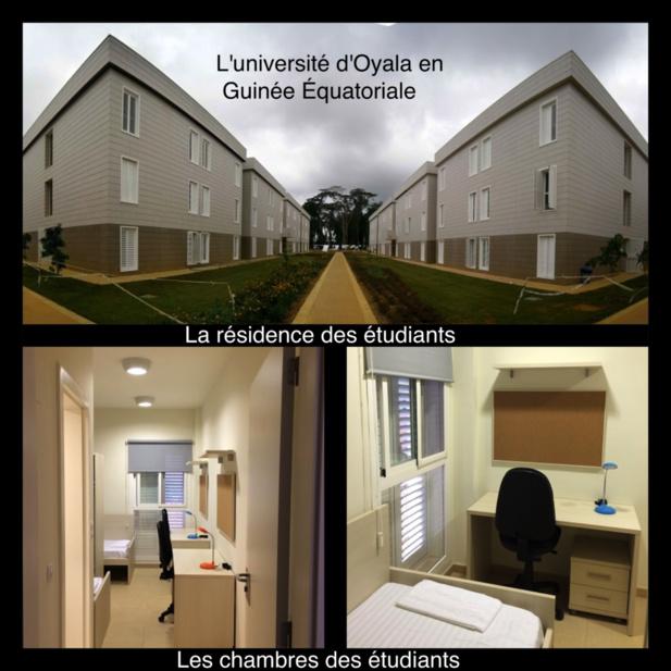 Photo des batiments de l'université d'Oyala et les chambres des étudiants.