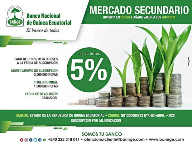 La Banque nationale de Guinée équatoriale annonce la mise en vente d'obligations sur le marché secondaire