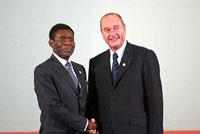 Jacques Chirac et Teodoro Obiang Nguema Mbasogo
