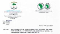 Appel à recrutement du personnel national pour la cellule d'exécution du projet d'appui à la modernisation des finances publiques de la Guinée équatoriale