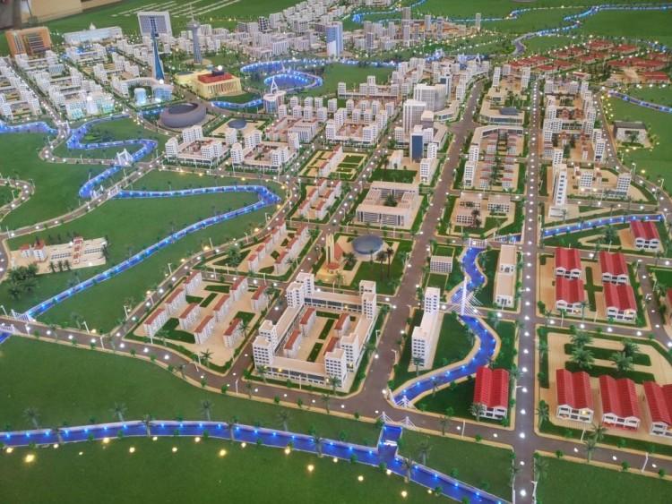 photo de la maquette de la ville Oyala. Digne d'une ville moderne en pleine forêt équatoriale.