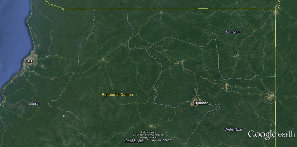 photo satellite crédit Google sur la Guinée Équatoriale la partie continentale, Djibloho est à l'Est.